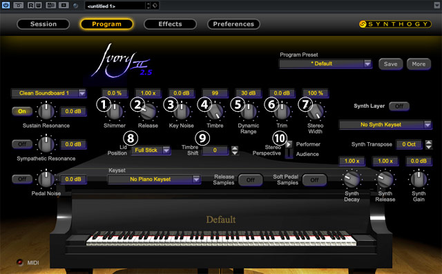 Ivory 2.5のProgram画面