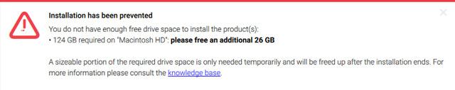 ディスクスペースが足りないというNative Accessの警告